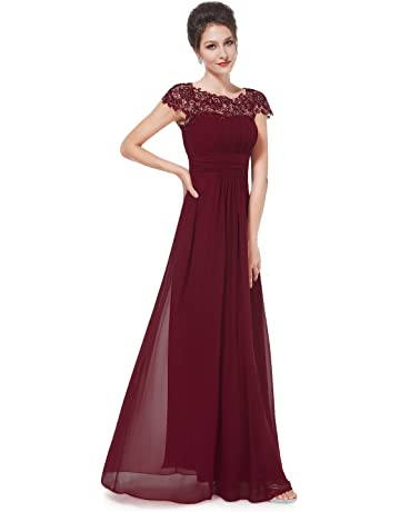 500f5779bb046 Ever-Pretty Womens Cap Sleeve Lace Neckline Ruched Bust Evening Gown 09993