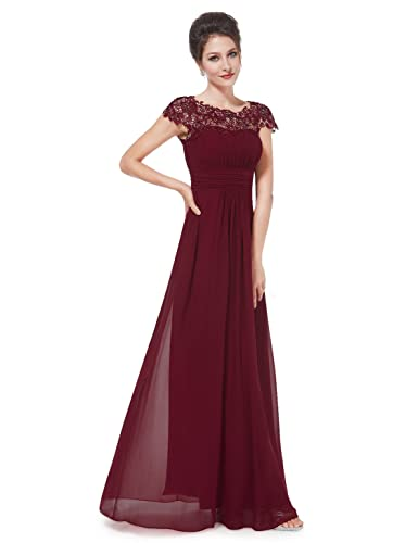 Ever-Pretty Womens Cap Sleeve Lace Neckline Ruched Bust Evening Gown 6 US Burgundy