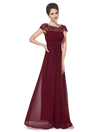 Ever-Pretty Womens Lacey Neckline Open Back Ruched Bust Evening Dress 09993 - Red -
