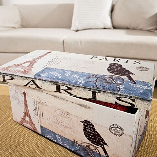 Haotian Storage Ottoman Folding Seat Box With Removable