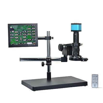 Full Metal Holder Stand 144 Led Ring Light 16mp 1080p Hdmi Usb Digital Video Recorder Microscope Camera Wireless Control