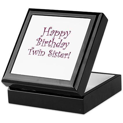 cafepress happy birthday twin sister keepsake box finished hardwood jewelry box
