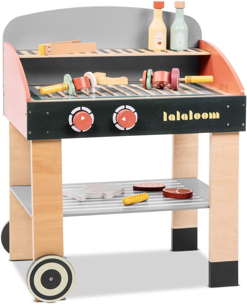 Lalaloom BABYCUE - Cocina de juguete madera para niños cocina infantil juego de imitación cocinita barbacoa con accesorios de madera 47x31x58cm