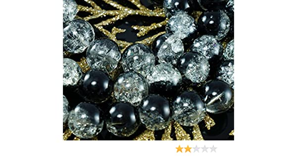 Large Clear Black Czech Cracked Glass Beads Halloween 12mm 6pcs