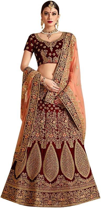 Amazon Com Designer Heavy Embroidered Marron Velvet Wedding Lehenga Choli For Bridal Women Indian Reception Dress 7536 Clothing