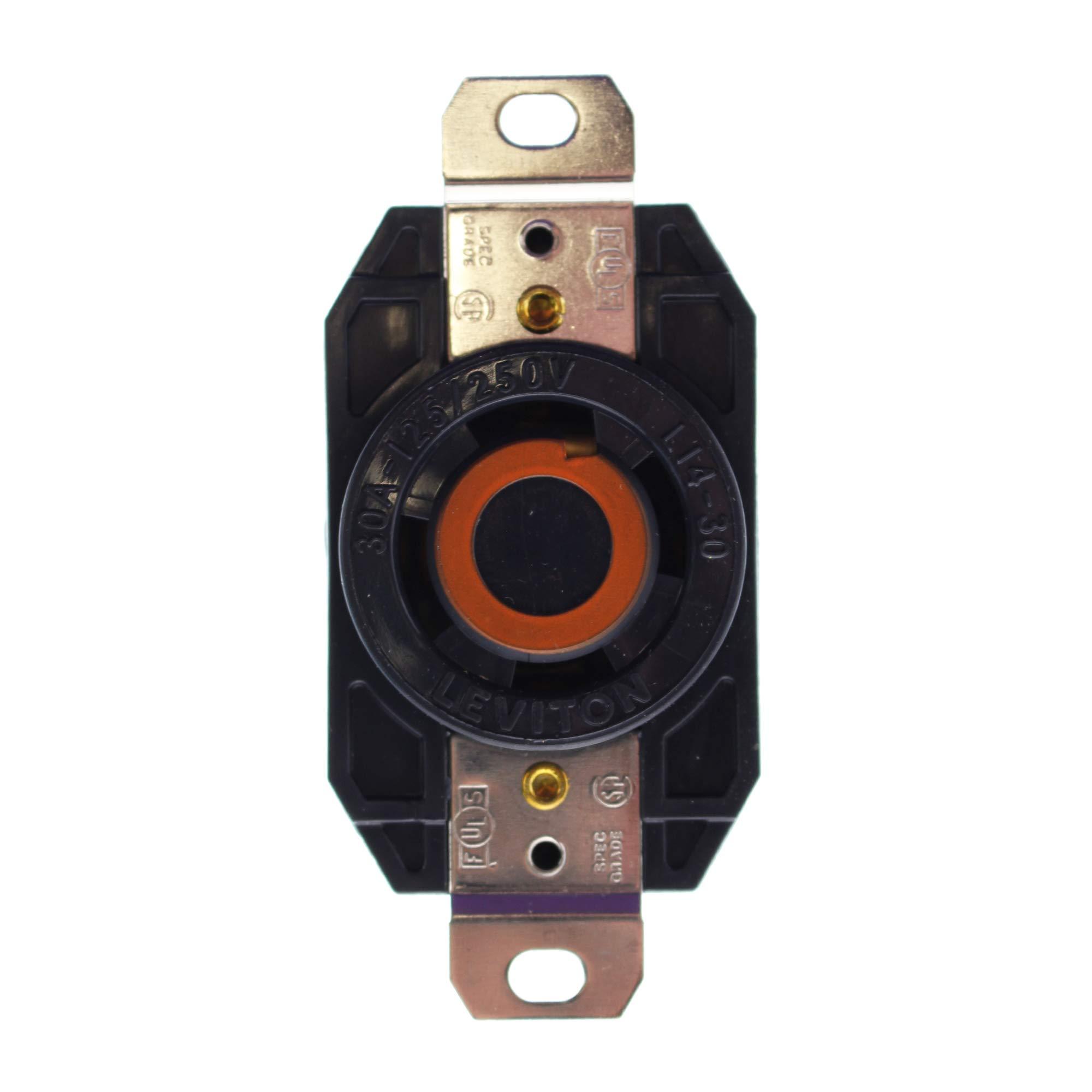 Leviton 2810 30 Amp, 120/208 Volt- 3PY, Flush Mounting Locking Receptacle, Industrial Grade, Grounding, V-0-Max, Black
