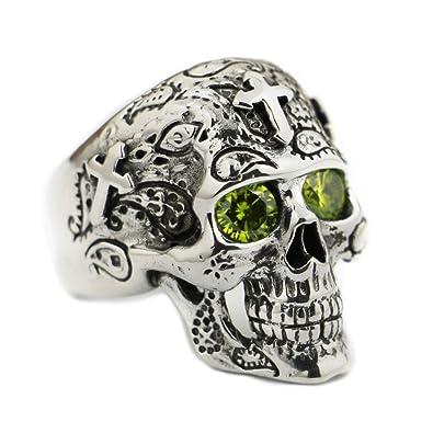 9b64886423d8 LINSION LISNION 925 Sterling Silver Skull Cross Olive Green CZ Eyes Mens  Biker Punk Ring TA59  Amazon.co.uk  Jewellery