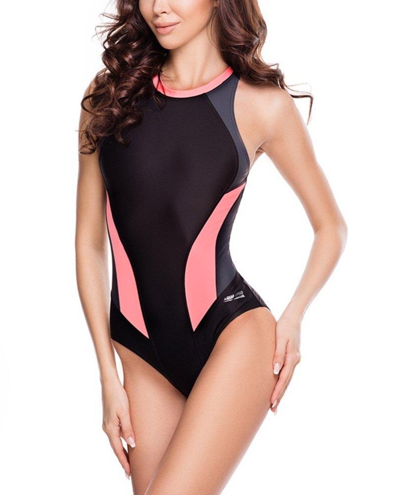 AQUA-SPEED Damen Badeanzug Schwimmanzug Badeoutfit einteilig mit weichen, herausnehmbaren Körbchen, aus hochwertigem Material, widerstandsfähig gegen Chlor und UV mit Reißverschluss NINA