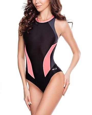 66be9eeedd94 Aqua Speed Damen 5908217664068 Nina Schwimmen Anzug, Schwarz Grau Koralle,  Größe 40