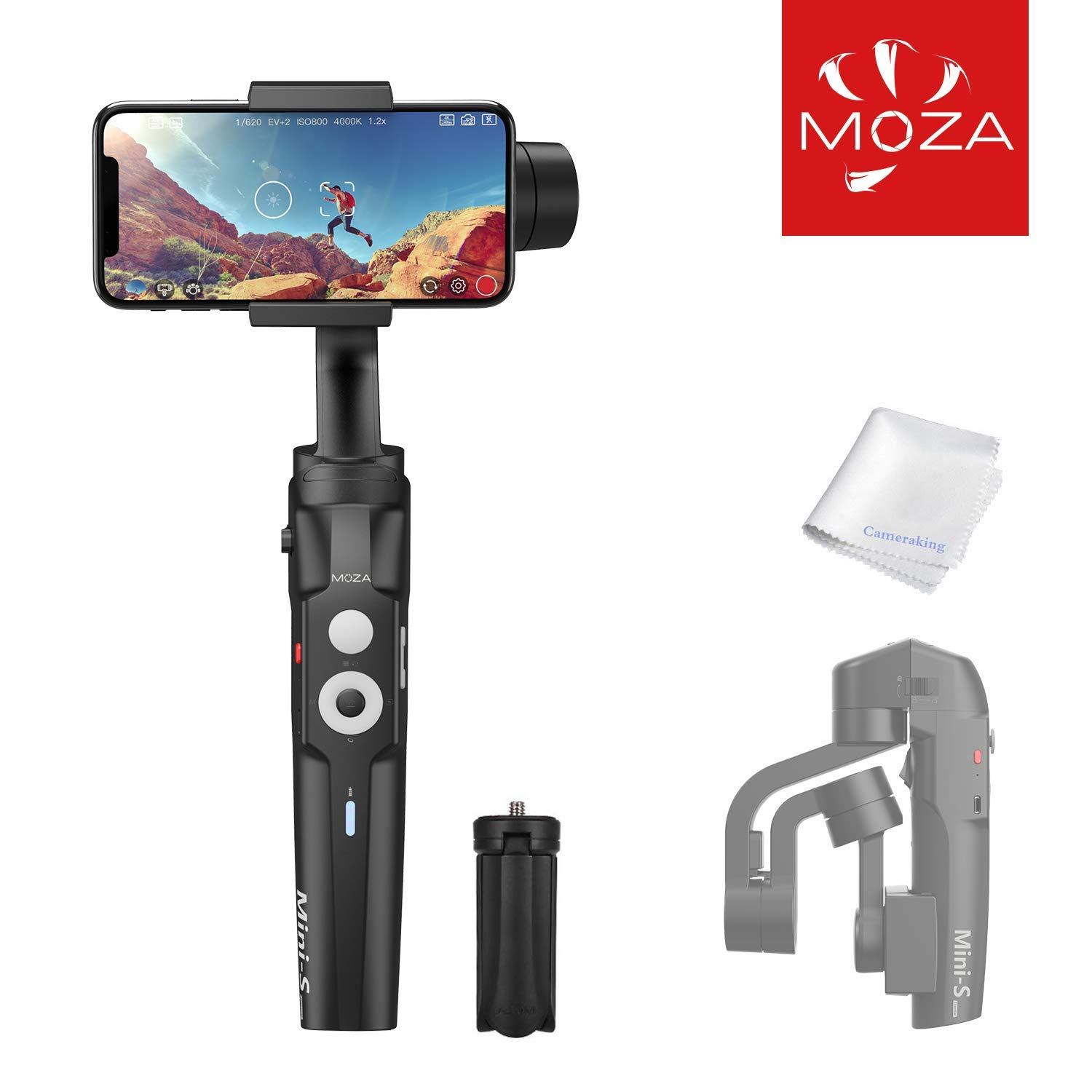 MOZA Mini-S 3-Axis Gimbal Stabilizer for Smartphone iPhone X XR XS Vlog Youtuber Live Video Record Foldable Extendable Gimbal with Timelapse Object Tracking Quick Platback Inception Mode by MOZA