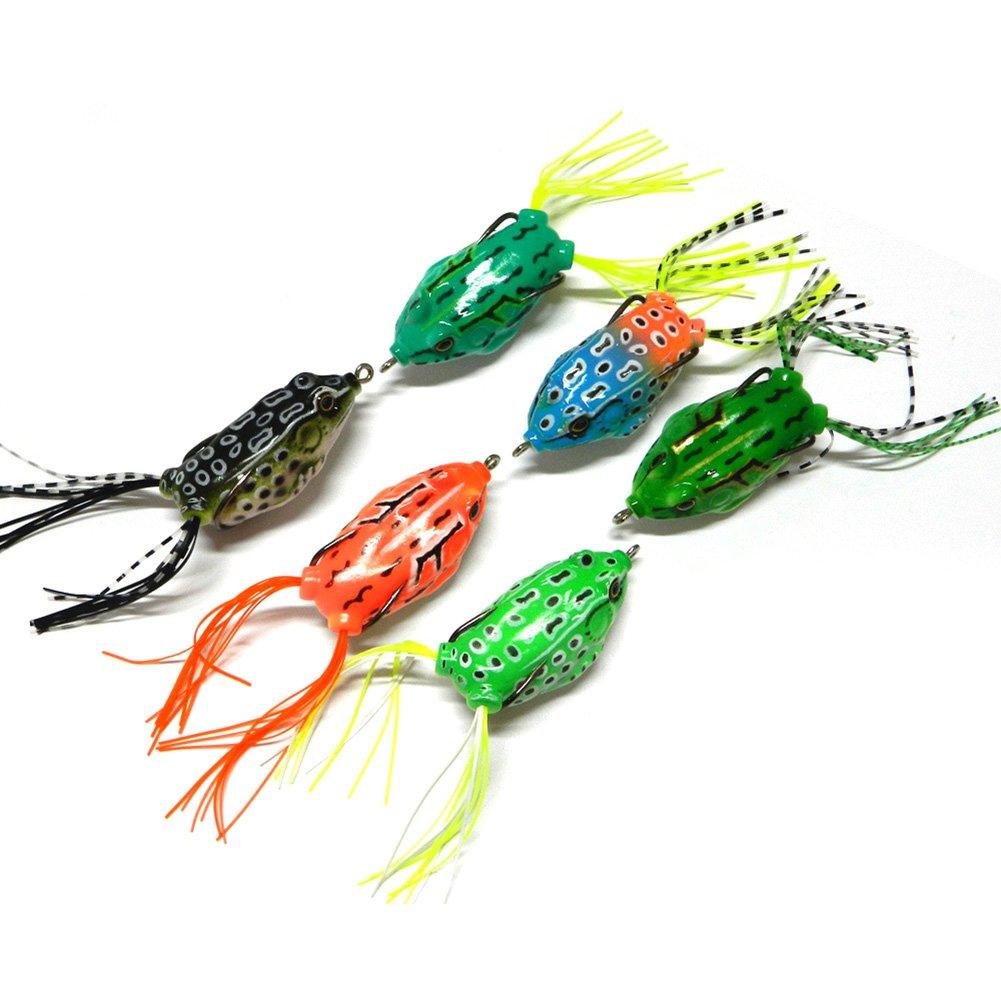 5.5cm 6pcs Fishing Lures Bass Soft Frog Crank baits Top Water Fish Tackle Hook