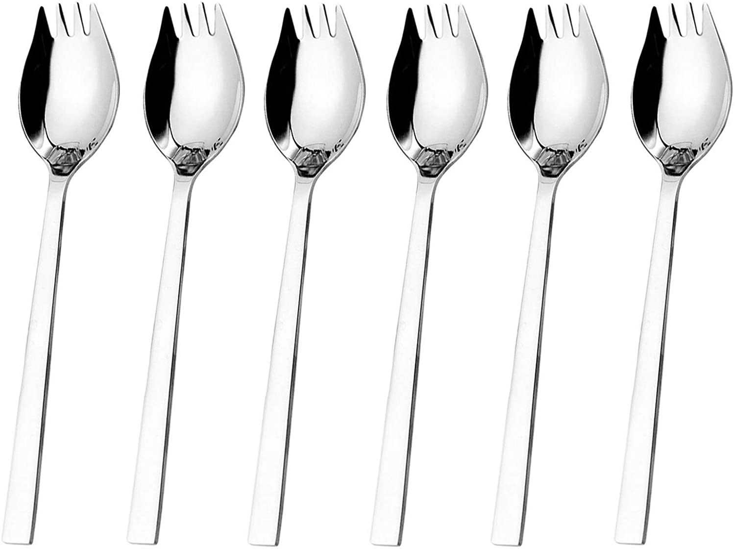 Hiware Sporks 6-pack 18/10 Stainless Steel Sporks for Everyday Household Use, 7.6-Inch / 1.6-Ounce/Ice Cream Spoon & Salad Forks, Fruit Appetizer Dessert