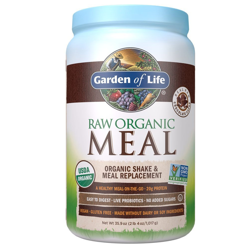 Garden of Life Meal Replacement Chocolate Powder, 28 Servings, Organic Raw Plant Based Protein Powder, Vegan, Gluten-Free by Garden of Life