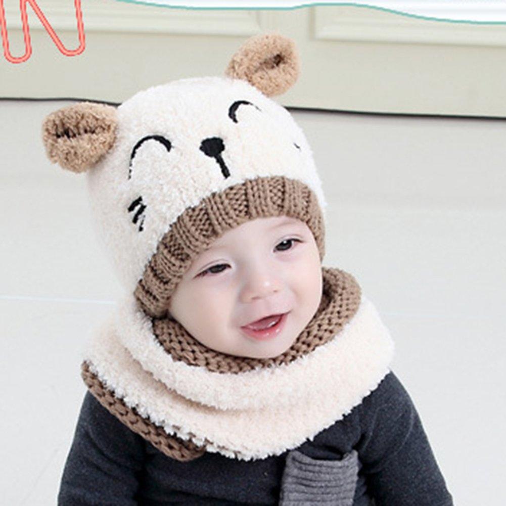 Meiyuan 19933 - Gorro bufandas de invierno con orejas de Beige gato ...
