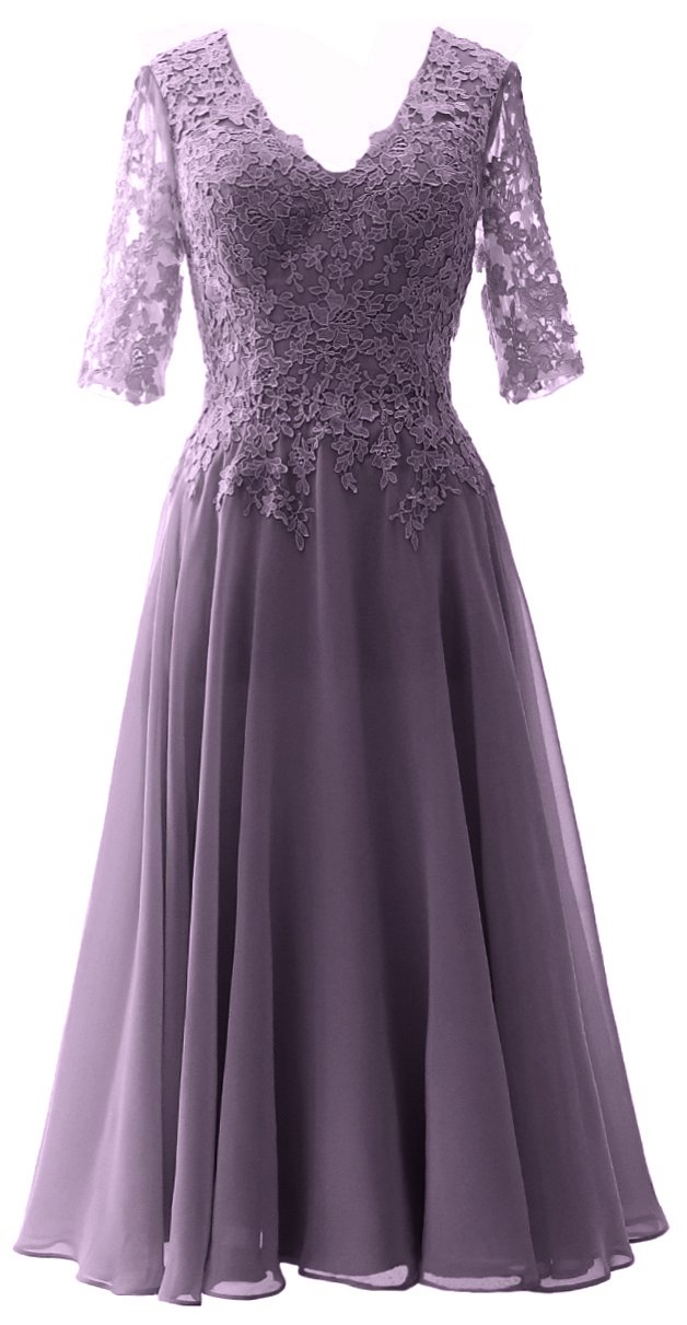 d195a34d79e MACloth Women V Neck Wedding Party Formal Gown Mother of Bride Dress with  Sleeve (US16