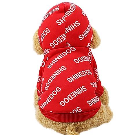 Fossrn Invierno Ropa Perro Pequeño Yorkshire Toy Chihuahua Mini shinedog Sudaderas con Capucha de algodón Abrigos