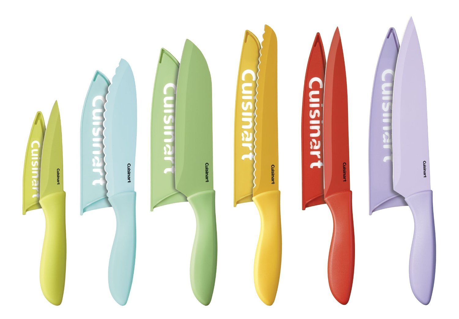 Ceramic and metal knives is the material they are made from ceramic - Amazon Com Cuisinart C55 12pcer1 12 Piece Ceramic Coated Color Knife Set With Blade Guards Multicolored Kitchen Dining