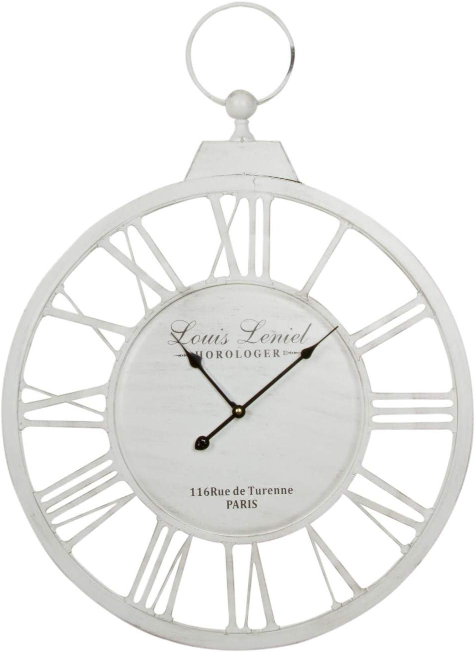 elbmöbel–Reloj de Pared de Metal Blanco Vintage Retro Reloj rústico Shabby Chic Envejecido. Redondo Grande