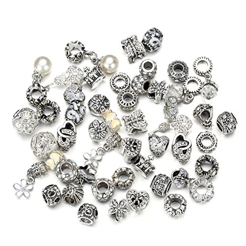Pansona 10 Colors Assorted Silver Tone Charms Rhinestones Bead Charms Murano Glass Beads and Spacers Pack of 50 (White)