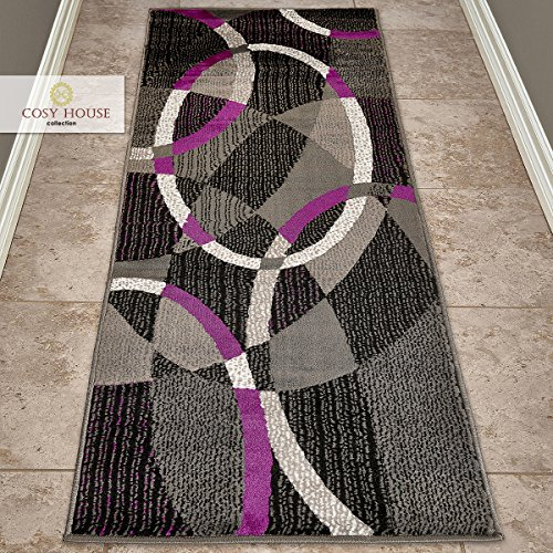 Cosy House Contemporary Runner Rugs for Indoors Hallway, Kitchen, Bathroom   Persian Living Room Home Decor   Resists Stains, Soil, Fading & Freying   Power Loomed in Turkey 2' X 7', Purple ()