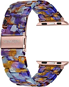 Joyozy Compatible with Apple Watch Bands 38mm 40mm 42mm 44mm, Resin Wristbands Replacement for iWatch SE& Series 6/5/4/3/2/1 for Women Men Gift Fashion Bracelet-(38mm/40mm, Sunlight Ocean Blue)