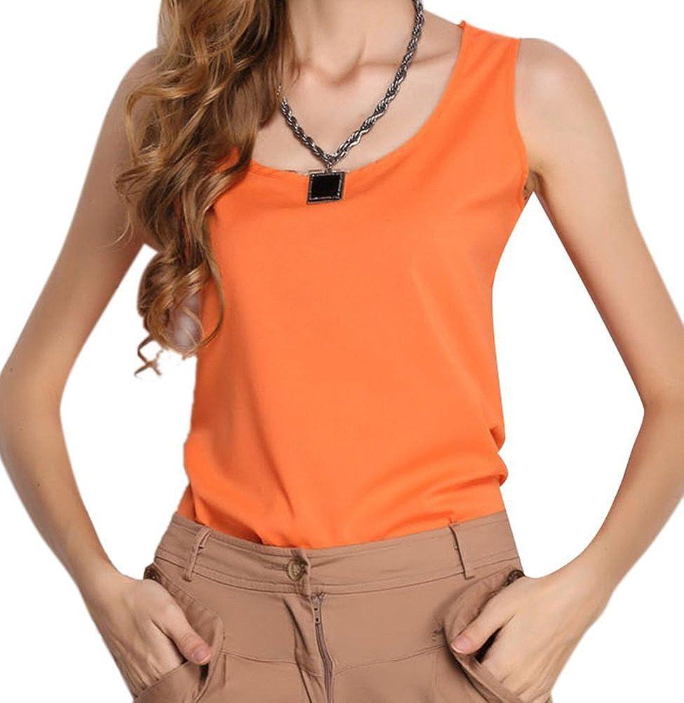 Top Goods Women s Chiffon Sleeveless Shirt Vest Tank Tops Blouse(orange