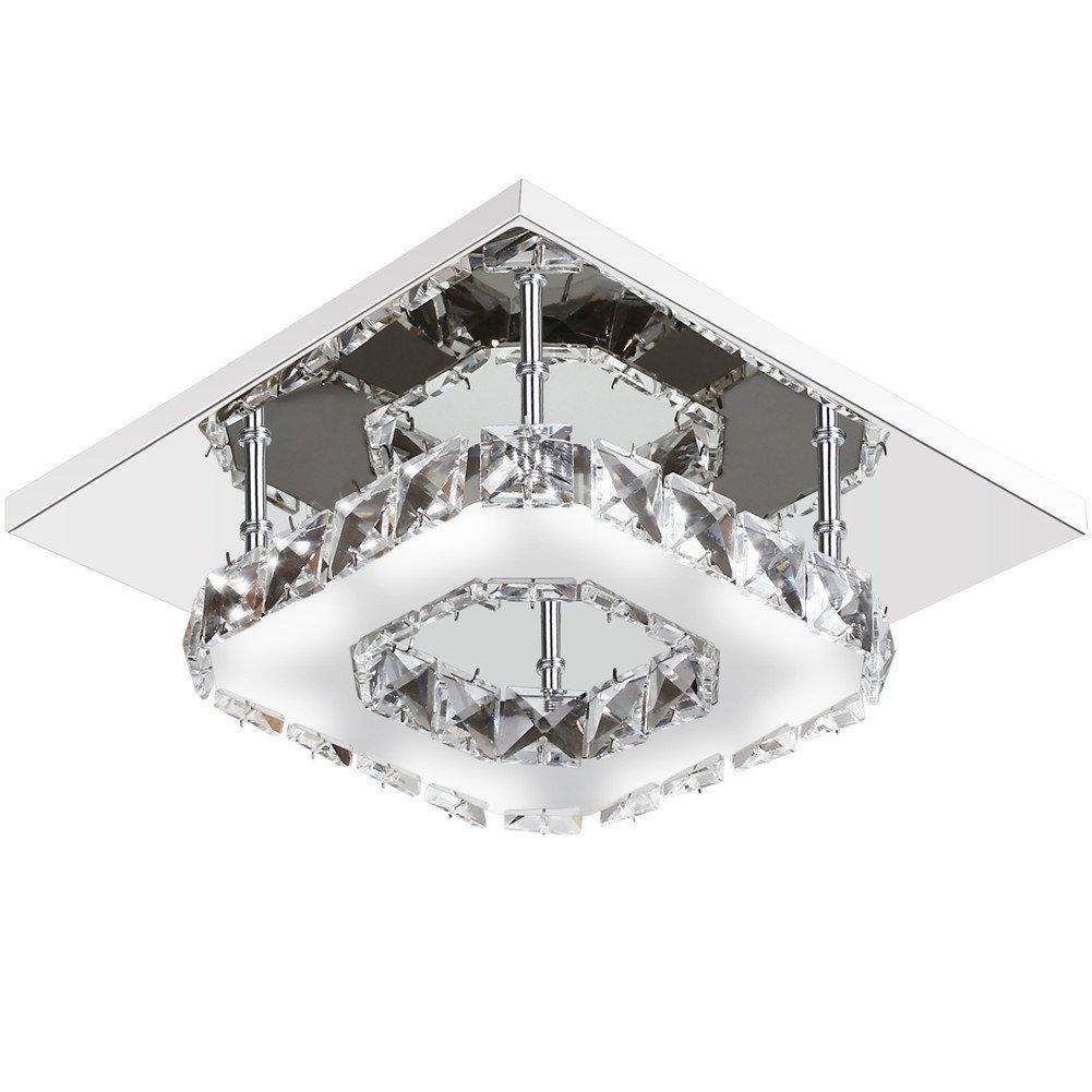Lightess Mini Crystal Flush Mount Ceiling Light Modern LED Square Lighting, Silver 12W