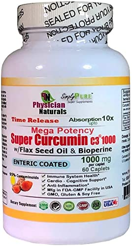 Mega Potency Super Curcumin C3 1000 Time Release Enteric Coated with Bioperine and Flax Seed Oil 10X Absorption Pure Curcumin Turmeric Ext