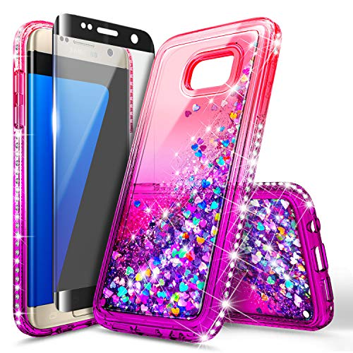 Galaxy S7 Edge Case with Screen Protector (Full Coverage 3D PET) for Girls Women Kids, NageBee Glitter Liquid Bling Floating Waterfall Sparkle Cute Case for Samsung Galaxy S7 Edge -Pink/Purple