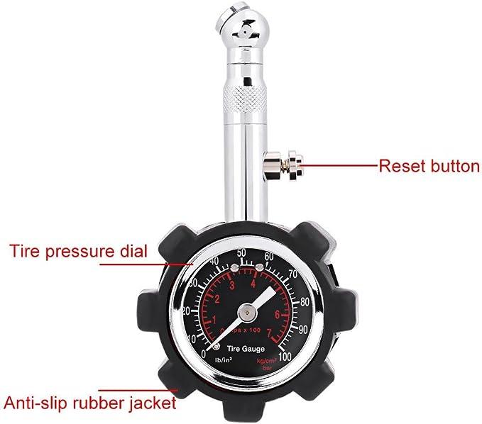 Keenso 0 100psi Reifendruck Messgerät Genaue Luftdruckprüfgerät Tester Auto