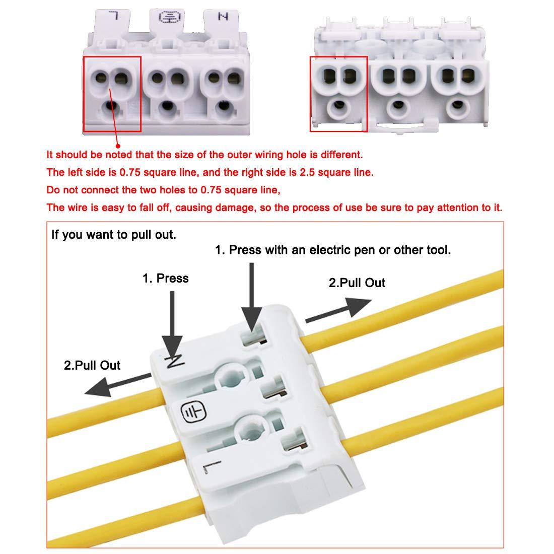 sourcing map Ressort Connecteurs Rapide Fil Connecteur Bornier 3 Positions 15Pcs