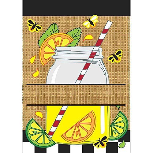 Black and White Stripe Mason Jar 18 x 13 Rectangular Burlap Double Applique Small Garden (Stripes Applique Flag)