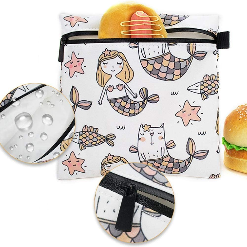 Exuberanter 3PCS Wiederverwendbare Snackbeutel Sandwichbeutel Nette Fisch Muster Snack Taschen Kinder Mittagessen Taschen Mit Rei/ßverschluss Sp/ülmaschinenfest