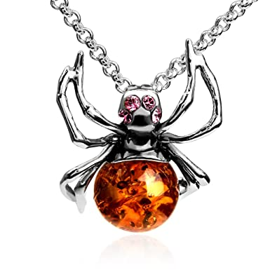 Amber sterling silver spider pendant necklace chain 46 cm amazon amber sterling silver spider pendant necklace chain 46 cm aloadofball Image collections