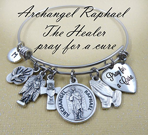 - Archangel St. Raphael Pray for a Cure, Patron Saint of Healing Bangle, Charm Bracelet, Holy Spirit, Get Well Gift