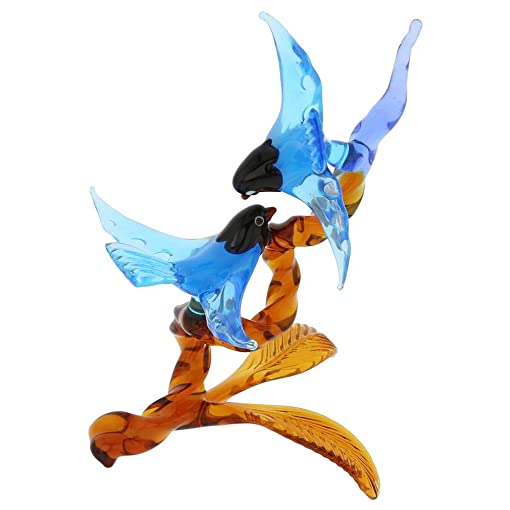 GlassOfVenice Murano Glass Birds on Golden Brown Branch – Blue