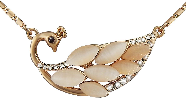 veuer joyas para mujer dorado collar de cadena colgante de pavo Rosé de oro chapado en oro con ópalo joyas de piedras de strass, pavo real regalo de Navidad para mujeres, la amiga, EHE de mujer vf205