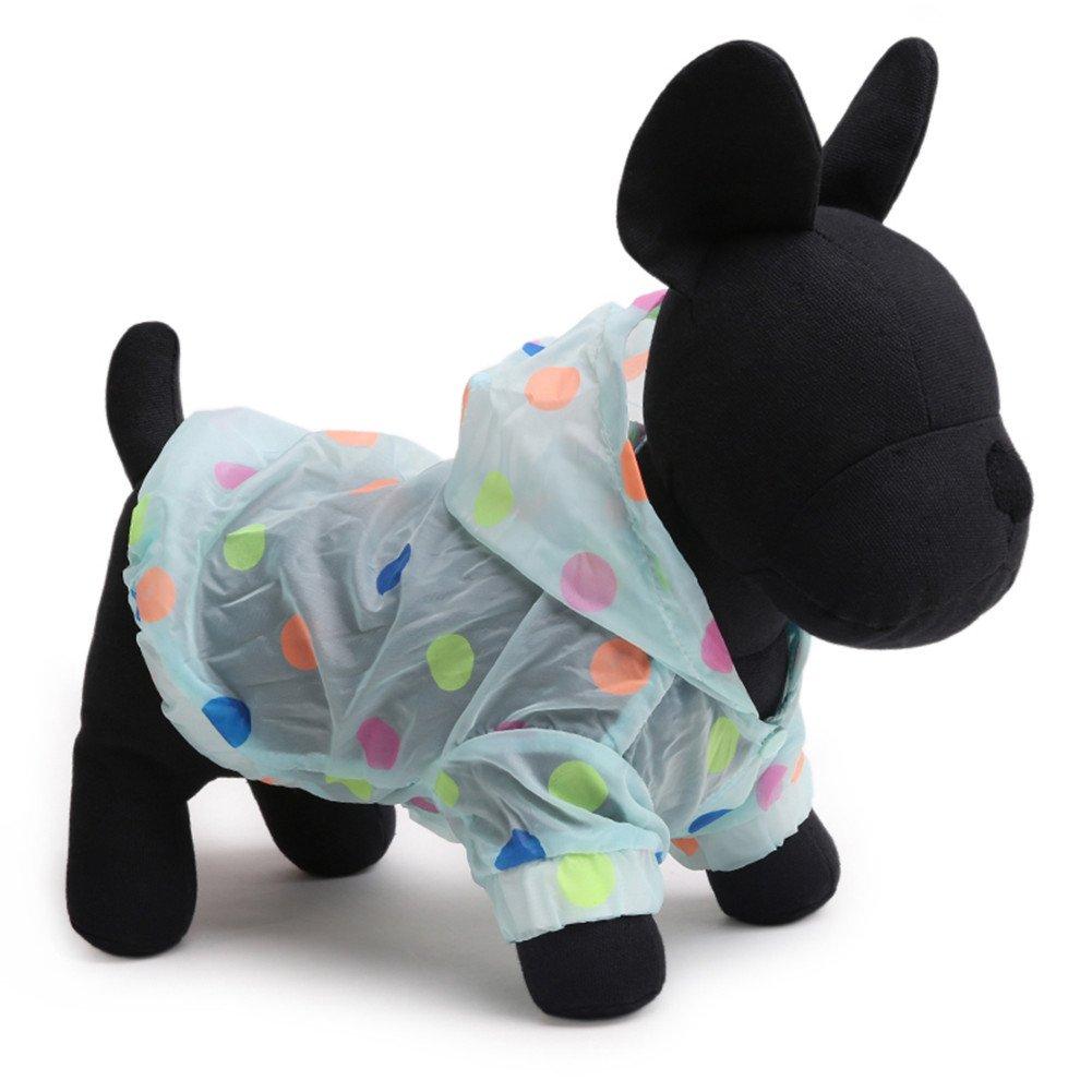 Tromy Polka Dots Pet Clothes Dog Raincoat Sunproof Hoodie Blue,S