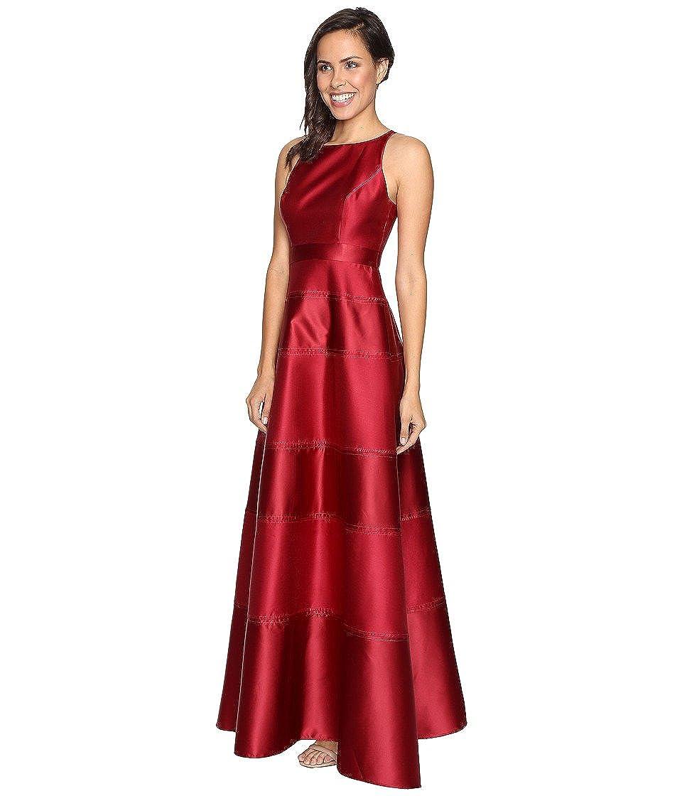 Amazon.com: Adrianna Papell Crimson Halter Mikado Satin Stripe Gown ...