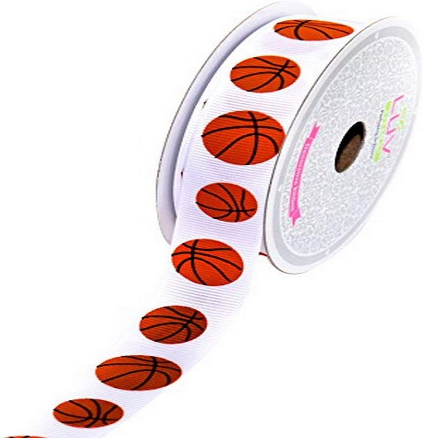 "5 yds basketball sports print 3//8/"" grosgrain ribbon by the yard DIY bows supply"