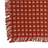 70 Inch Round Homespun Tablecloth, Hand Loomed, 100% Cotton, Made in USA, Cinnamon/Stone
