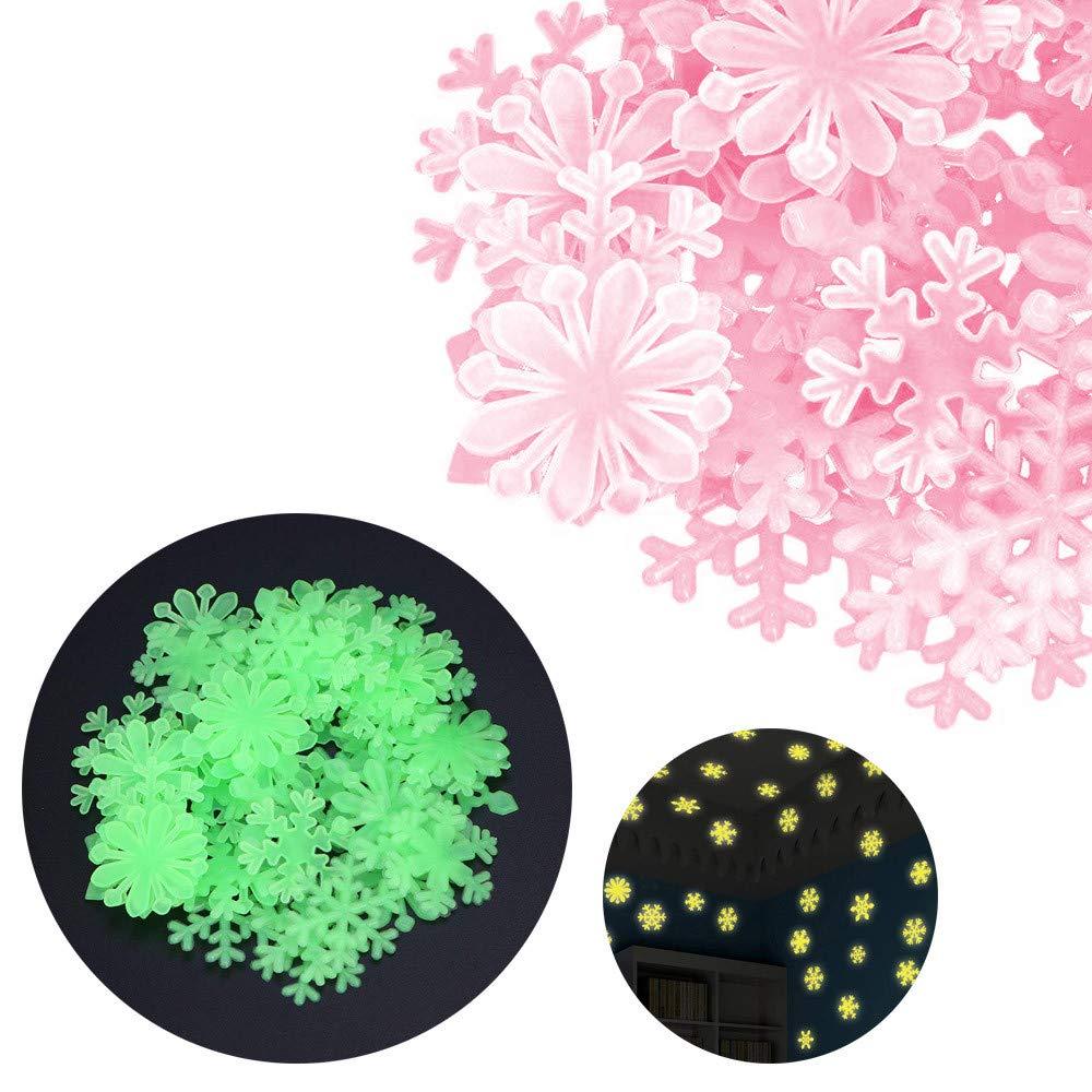 Lovewe Fluorescent Glow Wall Sticker,100PC Kids Bedroom Fluorescent Glow In The Dark Snowflake Wall Stickers (pink)