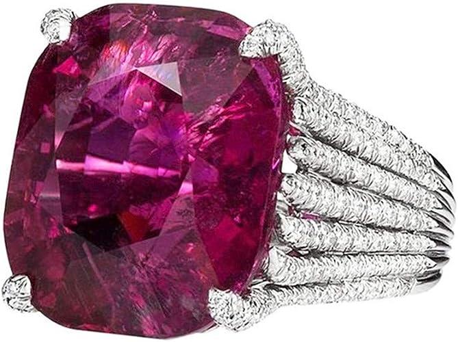 Women Dazzling Luxury Simulation Ruby Diamond Engagement Antique