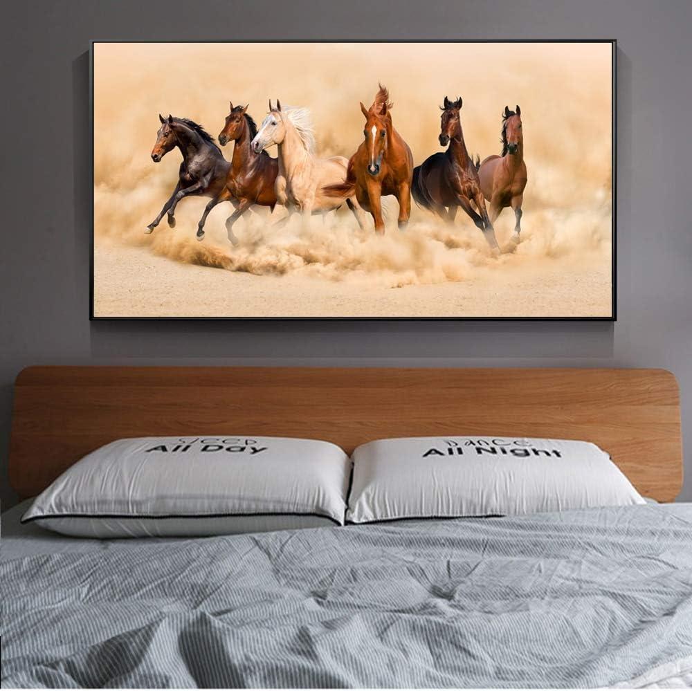 Impresión En Lienzo Wall Art Canvas PaintingCaballos Corriendo Animales Modernos Caballo 60x120cmCuadro sobre Lienzo, Impresiones en lienzo