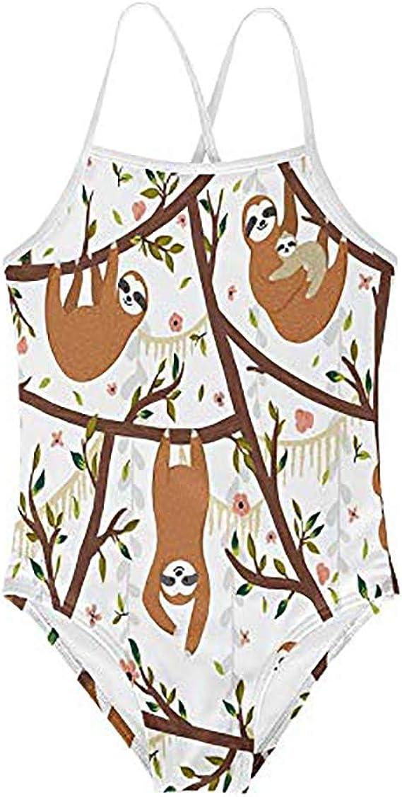 Salabomia Kids Gymnastics Beachwear Sloth Designs for Girls One Piece Ballet Beachsuit