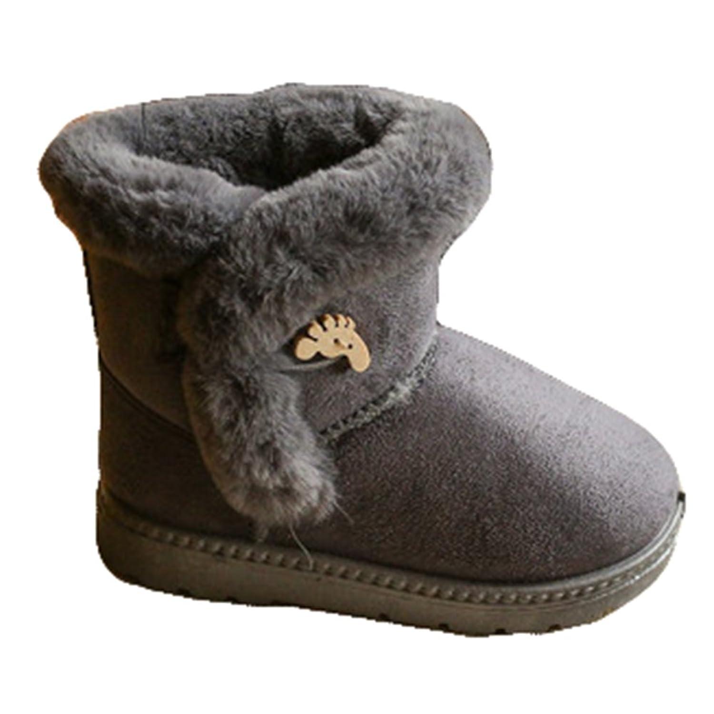 Hibote Filles Enfants Hiver Chaussures, Confortable Faux Fourrure Linning Coton Bottes de Noël Cadeau Casual Botte Chaud À La Mode
