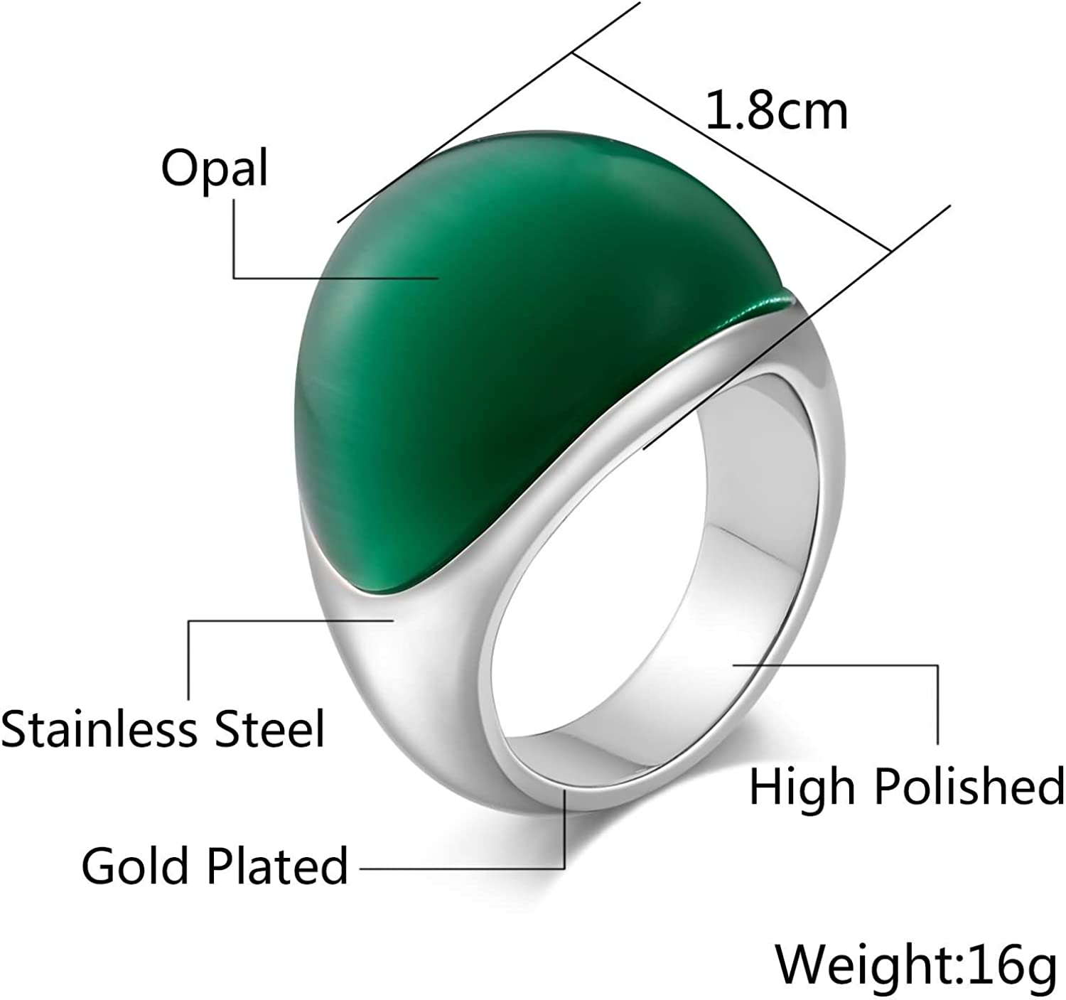 AMDXD Jewellery Stainless Steel Wedding Rings for Men Semi Arc Cubic Zirconia Ring