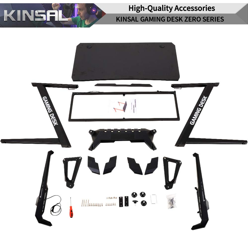 Kinsal Z-Shaped Gaming Desk Computer Desk Table with Fighting RGB LED Ambience Lighting and Large Size Mousepad, Racing Table E-Sports Durable Ergonomic Comfortable PC Desk (RGB Lights) by Kinsal (Image #7)
