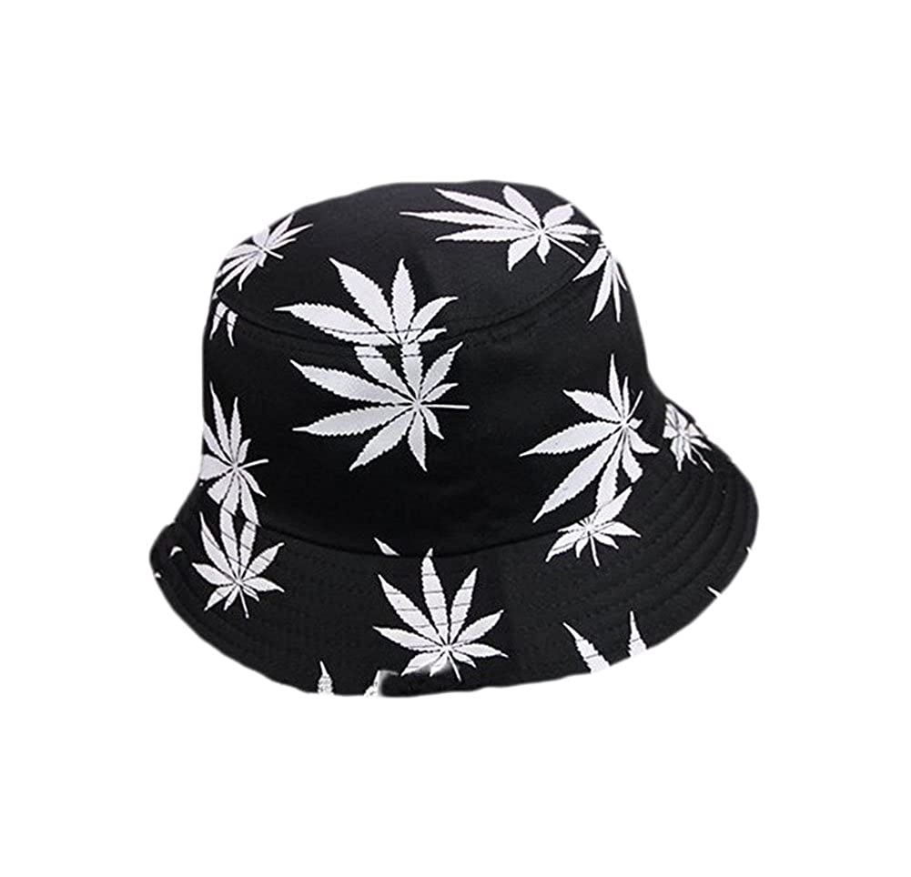 Westeng Sun Hat Bucket Style Men Women Foldable Fisherman Beach Hat Sun Protection Leaf Printing