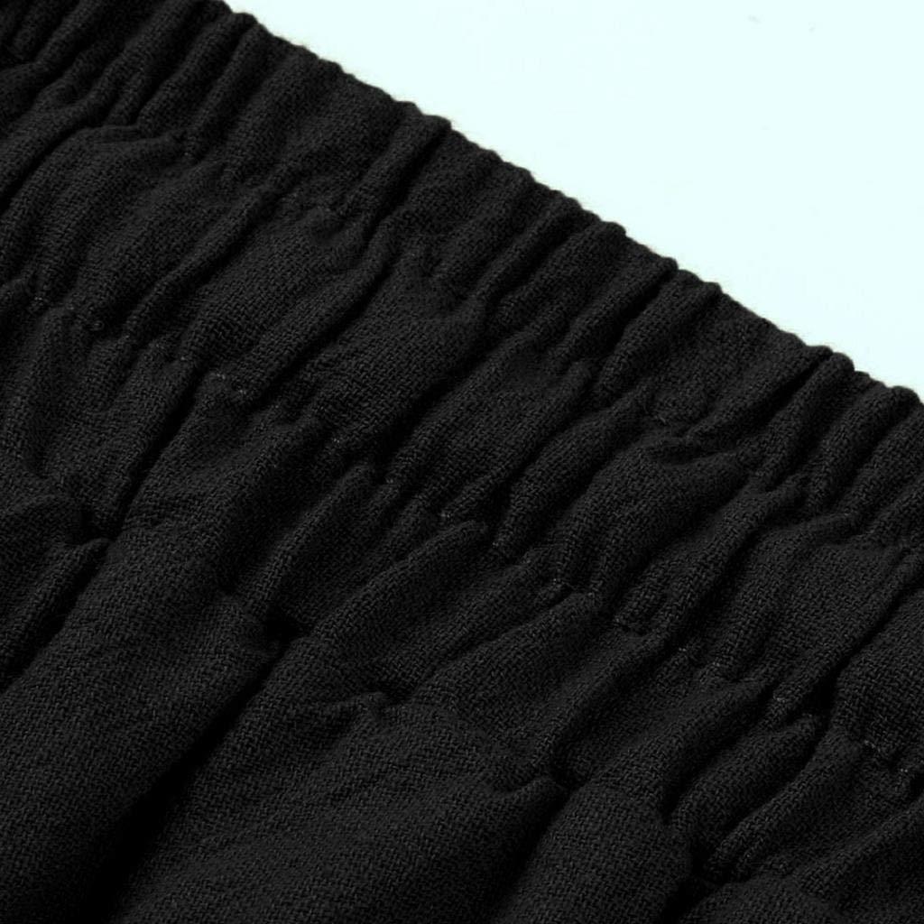 REYO Mens Casual Harem Pants Cotton Linen Festival Baggy Solid Retro Long Trousers Pants Sweatpants